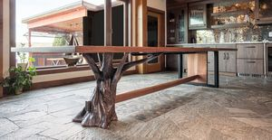 "Live edge American black walnut dining table with sculpted steel base 48"" x 156"""